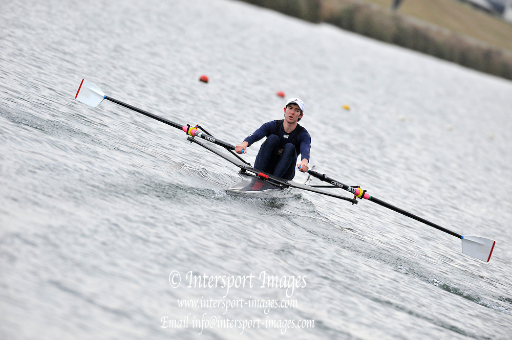 Eton, Great Britain, GBR LM1X, Adam FREEMAN-PASK,  at the start of the Sat afternoon Semi-final, 2010 GBRowing Trials, Dorney Lake. Berks. Saturday  17:18:50 [Mandatory Credit. Peter Spurrier/Intersport Images]