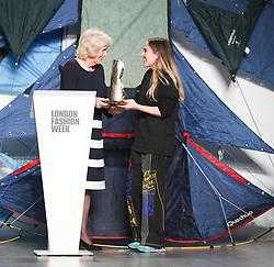 February 19, 2019 - London, United Kingdom - HRH Duchess of Cornwall Camilla presents Elizabeth II Award for young talents in fashion to the winner Bethany Williams during London Fashion Week February 2019 at the BFC show space on February 19, 2019 in London, England. (Credit Image: © Dominika Zarzycka/NurPhoto via ZUMA Press)