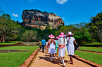 Sri Lanka, province du centre-nord, district de Polonnaruwa, Sigiriya, Ville ancienne et forteresse de Sigiriya classée patrimoine mondial de l'UNESCO, l'allée centrale et les jardins royaux aus bassins // Sri Lanka, Ceylon, North Central Province, Sigiriya Lion Rock fortress, UNESCO world heritage site, royal gardens