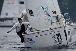 Phillip Guhle from Radich Racing Team gets as much as possible to leeward on day 1 of Match Race Germany. World Match Racing Tour. Langenargen, Germany. 20 May 2010. Photo: Gareth Cooke/Subzero Images/WMRT