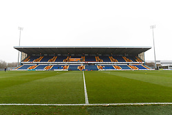 A general view of the One Call Stadium, home to Mansfield Town - Mandatory by-line: Ryan Crockett/JMP - 29/11/2020 - FOOTBALL - One Call Stadium - Mansfield, England - Mansfield Town v Dagenham & Redbridge - Emirates FA Cup second round