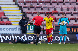Partick Thistle's Thomas O'Hare brings down Dunfermline's Greg Kiltie for their penalty, then getting a red card. Dunfermline 5 v 1 Partick Thistle, Scottish Championship game played 30/11/2019 at Dunfermline's home ground, East End Park.