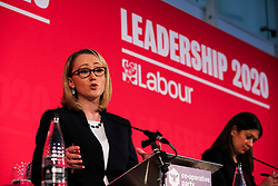 © Licensed to London News Pictures. 16/02/2020. London, UK. Labour leadership candidate REBECCA LONG-BAILEY MP for Salford and Eccles and Shadow Secretary of State for Business, Energy and Industrial Strategy speaks at a hustings event hosted by the Co-operative Party held at Business Design Centre, north London. Photo credit: Dinendra Haria/LNP