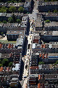 Nederland, Amsterdam, de Pijp, 12-05-2009; Ferdinand Bolstraat, tussen Albert Cuypstraat en Ceintuurbaan (kruispunt boven in beeld). De bouwput in de straat is voor het toekomstige station Centuurbaan van de Noord/Zuidlijn. Overview from the air on of the construction site of the underground (metro). Digging activities have been stopped now because of the subsidence risk..Swart collectie, luchtfoto (toeslag); Swart Collection, aerial photo (additional fee required).foto Siebe Swart / photo Siebe Swart