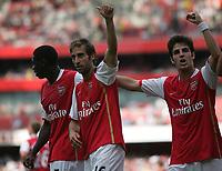 Photo: Lee Earle.<br /> Arsenal v Paris Saint-Germain. The Emirates Cup. 28/07/2007.Arsenal's Mathieu Flamini (C) celebrates scoring their opening goal.