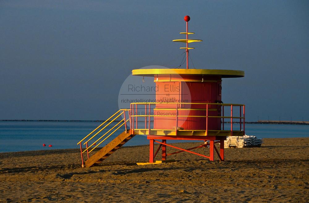 An art deco lifeguard cabana on South Beach in Miami, FL.