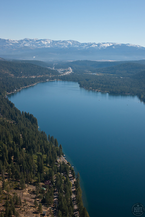 """""""Donner Lake Aerial 5"""" - Photograph of Donner Lake in Truckee, California. Shot from an amphibious seaplane with the door removed."""