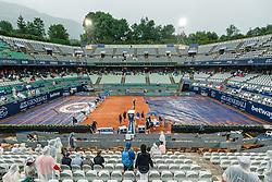 28.07.2021, Sportpark, Kitzbühel, AUT, ATP Tour, Generali Open Kitzbühel, im Bild Regenunterbrechung // rain Delay during the Generali Open Tennis Tournament of the ATP Tour at the Sportpark in Kitzbühel, Austria on 2021/07/28. EXPA Pictures © 2021, PhotoCredit: EXPA/ Stefan Adelsberger