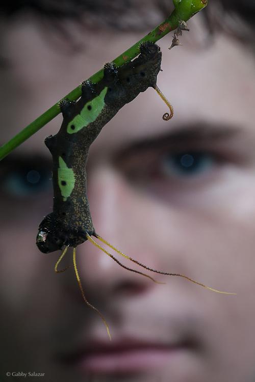 Rick Stanley with Caterpillar. Pontificia Universidad Catolica del Ecuador, Estacion Biologica Yasuni, Yasuni National Park, Ecuador.