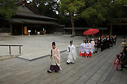 A wedding ceremony takes place at the Meiji Shintu Shrine in Shibuya, Tokyo. The shrine is dedicated to the deified spirits of Emperor Meiji and his wife, Empress Shōken.