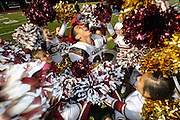 Santa Paula High School cheerleaders celebrate with wide receiver Leo Vasquez following their win over rival Fillmore High on Friday, November 12, 2010. Santa Paula won, 30-27 in the 100th meeting of the two teams.