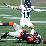 Defensive back #15 Andrae Pierman breaks up a pass to #18 James Rutledge. Fullerton defeated Orange Coast 35-14.  11/6/16