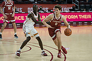 Stanford Cardinal forward Neal Begovich (0) during an NCAA men's basketball game against the Stanford Cardinal, Wednesday, March 3, 2021, in Los Angeles. USC defeated Stanford 79-42. (Jon Endow/Image of Sport)
