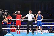 Boxen: AIBA Box-WM, Day 5, Hamburg, 29.08.2017<br /> 81 Kg: Julio La Cruz (CUB, red) - Ibrahim Bazuev (GER, blue)<br /> © Torsten Helmke
