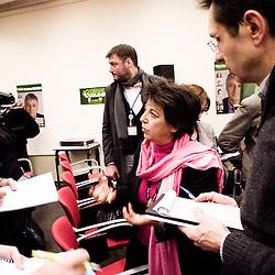 Point Presse avant le meeting d'Europe Ecologie pour la liste de Jacques Finique. La deputee Corinne Lepage doit y tenir un discours. 8 mars 2010. Photo : Antoine Doyen