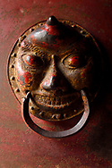 Art mask, The Xuan Kong Si, or Hanging Temple, 1800 years old, Beiyue Hengshan Mountain, Datong, Hunyuan County, Shanxi Province, China