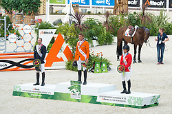 Podium (L-R) Patrice Delaveau (FRA), Jerome Dubbeldam (NED) & Beezie Madden (USA) - Show Jumping Final Four - Alltech FEI World Equestrian Games™ 2014 - Normandy, France.<br /> © Hippo Foto Team - Jon Stroud<br /> 07/09/2014