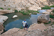 Israel, Jordan Valley, Wadi Qelt offroad hiking The natural spring