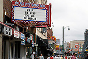 Beale Street Club Owners in Memphis pay tribute the the blues legend B.B.KING. B.B. was a nick name given to him on Beale Street. His nick name was Beale Street Blues Boy. Blues City Band Box is on Beale Street in Memphis.