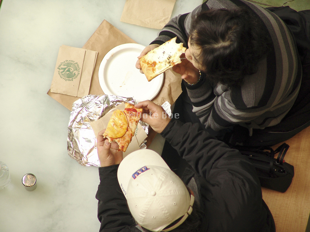 Overhead view of two people eating.