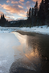 """""""Icy Truckee River 1"""" - Photograph of a partially iced over Truckee River at sunrise."""