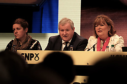 SNP Spring Conference, Sunday 28th April 2019<br /> <br /> Pictured: (l to r) Kirsty Blackman MP, Ian Blackford MP, leader of the SNP group at Westminster, and Fiona Hyslop MSP<br /> <br /> Alex Todd   Edinburgh Elite media