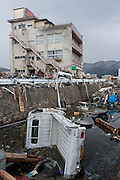 Effects of the tsunami in Ofunato, Iwate, Japan. March 17th 2011