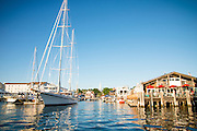 Newport Docks in Summer light in historic Newport, Rhode Island.