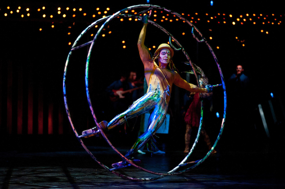 London, UK - 4 Janaury 2014: the German Wheel act performed by Cory Sylvester during the dress rehearsal of Quidam at the Royal Albert Hall. (available only for editorial coverage of the Production)