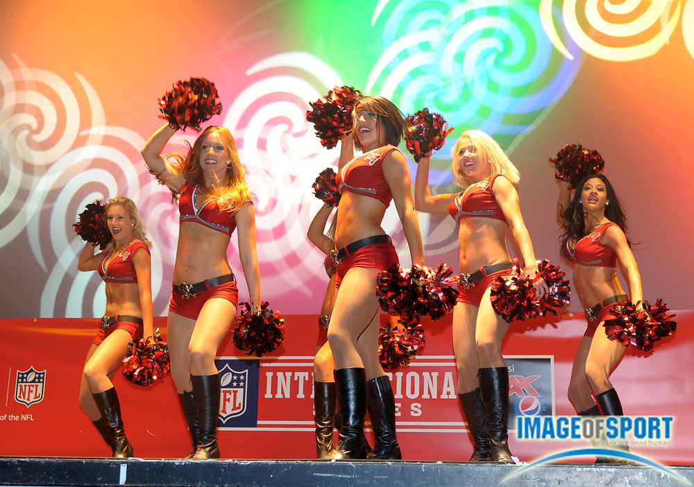 Oct 21, 2011; London, UNITED KINGDOM; Tampa Bay Buccaneers cheerleaders perform at the screening of the film Jerry Macguire at Trafalgar Squar in advance of the 2011 NFL International Series game between the Chicago Bears and the Tampa Bay Buccaneers.