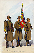 'French infantry men with their standard. Postcard, 1938.'