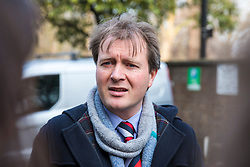© Licensed to London News Pictures. 21/02/2018. London, UK. Richard Ratcliffe, husband of Nazanin Zaghari-Ratcliffe, outside the Iranian Embassy in London, ahead of an expected visit by a senior Iranian minister. British-Iranian Nazanin Zaghari-Ratcliffe has been detained in Iran since April 2016. Photo credit: Rob Pinney/LNP