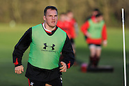 Gethin Jenkins in action. Wales rugby team training at the Vale, Hensol, near Cardiff on Thursday 29th November 2012. the team are preparing for their final Autumn international match against Australia this Saturday. pic by Andrew Orchard, Andrew Orchard sports photography,