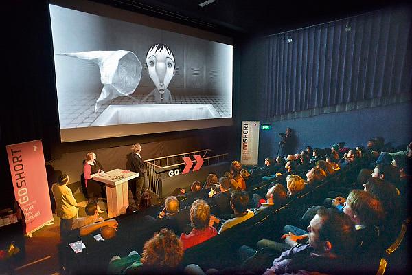 Nederland, Nijmegen, 16-3-2013Prijsuitreiking Go Short filmfestival. De winnaar animatie, waarvan op het doek een beeld. NTR Go Short Award for the best short animation film: Edmond was a Donkey, Franck Dion.Foto: Flip Franssen/Hollandse Hoogte