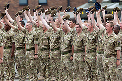 © licensed to London News Pictures. 25/06/2011. Three cheers were given for their Royal Highnesses. Windsor ,UK. Prince WIlliam and Kate Middleton at Victoria Barracks, Windsor, Berks on Armed Forces day today (25/06/2011) for a Welcome home parade for the Irish Guards following their tour of duty in Helmand province, Afghanistan. See special instructions. Mandatory photo credit: Matt Cetti-Roberts/LNP