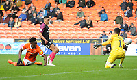 Peterborough United's Niall Mason scores an own goal under pressure from Blackpool's Armand Gnanduillet to make the score 1-1<br /> <br /> Photographer Kevin Barnes/CameraSport<br /> <br /> The EFL Sky Bet Championship - Blackpool v Peterborough United - Saturday 2nd November 2019 - Bloomfield Road - Blackpool<br /> <br /> World Copyright © 2019 CameraSport. All rights reserved. 43 Linden Ave. Countesthorpe. Leicester. England. LE8 5PG - Tel: +44 (0) 116 277 4147 - admin@camerasport.com - www.camerasport.com