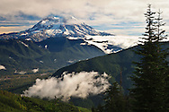 Mount Rainier as viewed from the southwest across the Nisqually River valley in the Cascade Range of Washington state, USA