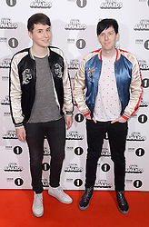 Dan and Phil arriving at the BBC Radio 1 Teen Awards, held at the SSE Wembley Arena, London.<br /> <br /> Picture date: Sunday, 23 October, 2016. Photo credit should: Doug PetersEMPICS Entertainment