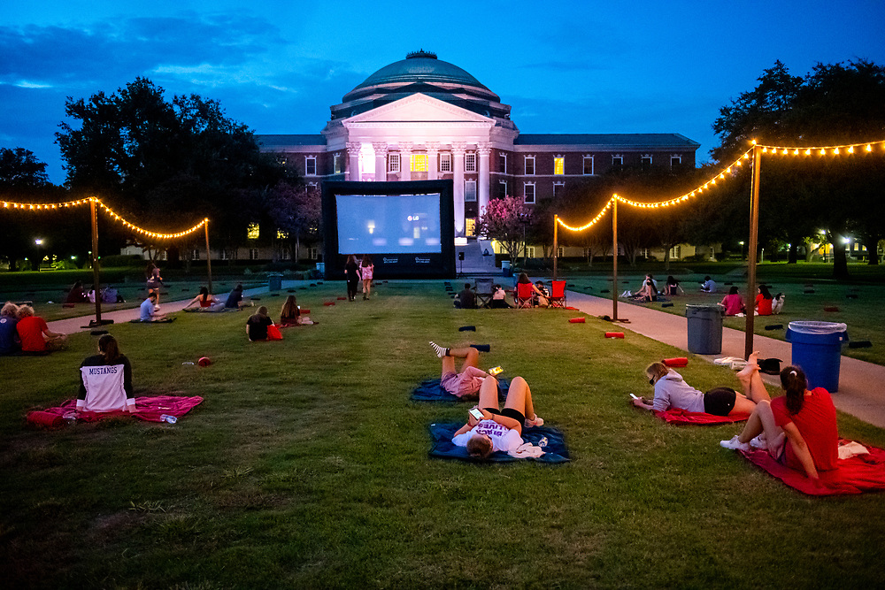 SMU students watch the film Footloose on night two of Perunapalooza, Tuesday, September 8, 2020 on the Main Quadrangle of the SMU Campus.