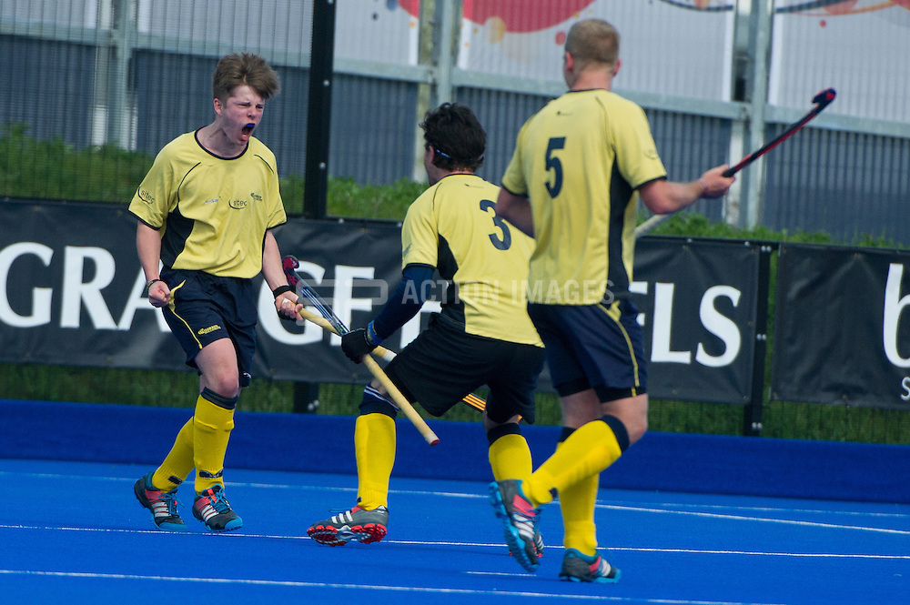 Team Bath Buccaneers' Matthew Boote celebrates scoring their fifth goal against Bowdon. Bowdon v Team Bath Buccaneers - Now: Pensions Finals Weekend, Lee Valley Hockey & Tennis Centre, London, UK on 11 April 2015. Photo: Simon Parker