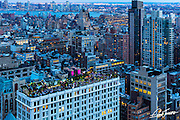 View of the rooftop bar 230 Fifth Avenue from 10 E 29th street in New York City.