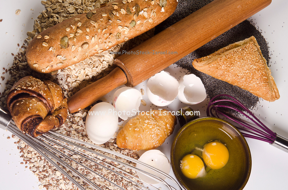 baking concept with ingredients, tools and baked goods