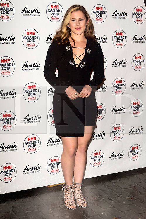 © Licensed to London News Pictures. 17/02/2016. KATHY B arrives at the NME Awards 2016 with Austin, Texas.  Previous winners of NME's Godlike Genius Award include Suede, Blondie, The Clash, Paul Weller, The Cure, Manic Street Preachers, New Order & Joy Division, Dave Grohl, Noel Gallagher and Johnny Marr.  London, UK. Photo credit: Ray Tang/LNP