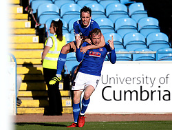 Nicky Adams of Carlisle United celebrates with Jamie Devitt of Carlisle United after his cross is diverted by Craig Woodman of Exeter City into his own goal - Mandatory by-line: Robbie Stephenson/JMP - 14/05/2017 - FOOTBALL - Brunton Park - Carlisle, England - Carlisle United v Exeter City - Sky Bet League Two Play-off Semi-Final 1st Leg