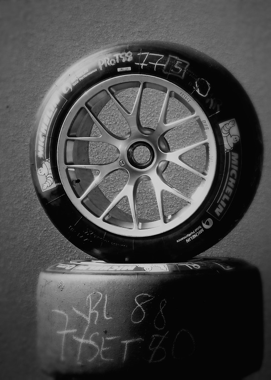Spare wheels and tires wait in the pits on the open practice day for the World Endurance Championship at Circuit Paul Ricard.