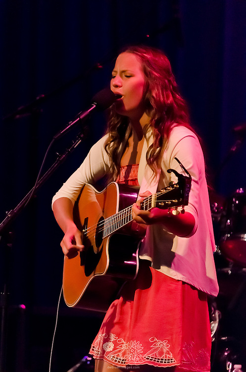 Mia Bergmann performing at the Ocean City Music Pier as the opening act for The Bacon Brothers.