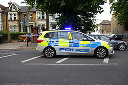 © Licensed to London News Pictures. 28/05/2019. London, UK.London, UK. A crime scene on Warwick Road, Forest Gate, East London where a man in his 30s died in the early hours of this morning.<br /> Police officers were called after the victim was found suffering from stab injuries following a flight. He died later in the hospital. Photo credit: Dinendra Haria/LNP CAPTION UPDATED WITH CORRECT DATE