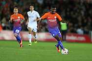 Kelechi Iheanacho of Manchester city in action. EFL Cup. 3rd round match, Swansea city v Manchester city at the Liberty Stadium in Swansea, South Wales on Wednesday 21st September 2016.<br /> pic by  Andrew Orchard, Andrew Orchard sports photography.