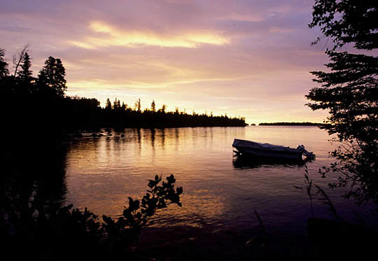 Isle Royale National Park, boat anchored in Malone Bay. Storm approaching. Michigan.