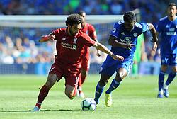 Mohamed Salah of Liverpool competes with Bruno Ecuele Manga of Cardiff City- Mandatory by-line: Nizaam Jones/JMP - 21/04/2019 -  FOOTBALL - Cardiff City Stadium - Cardiff, Wales -  Cardiff City v Liverpool - Premier League